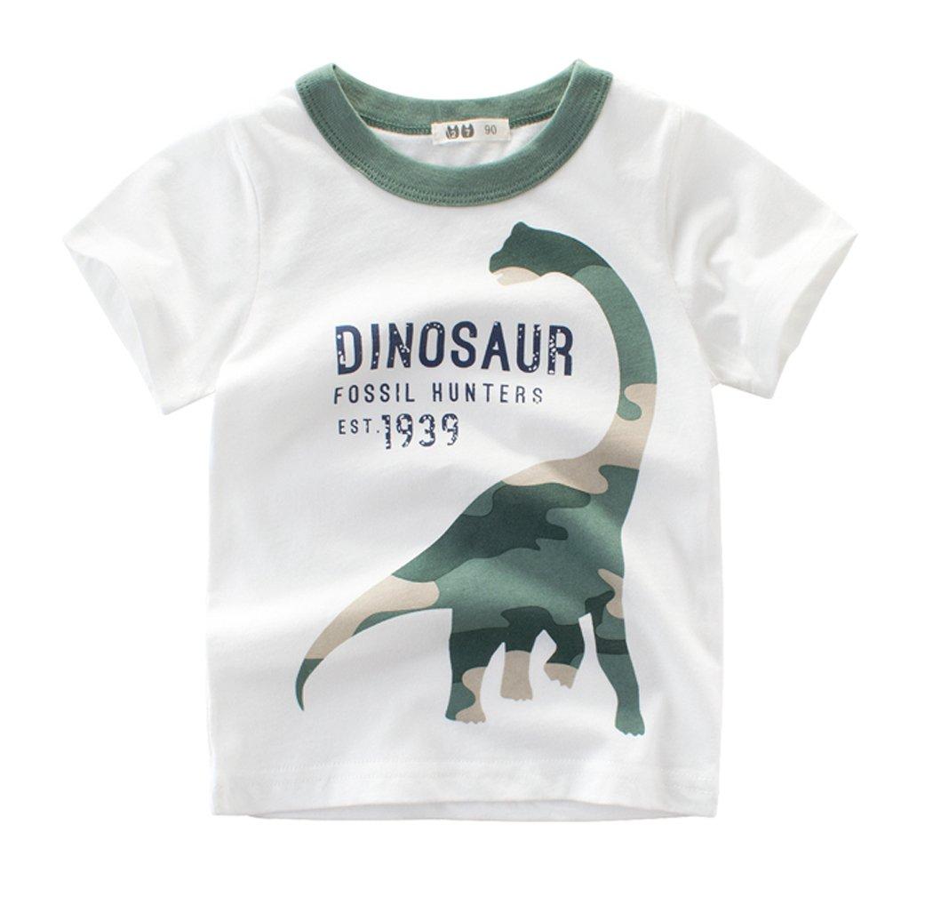 CFD Little Boy Short Sleeve Cotton T-Shirt Dinosaur T-Rex T-Shirt 1 3T