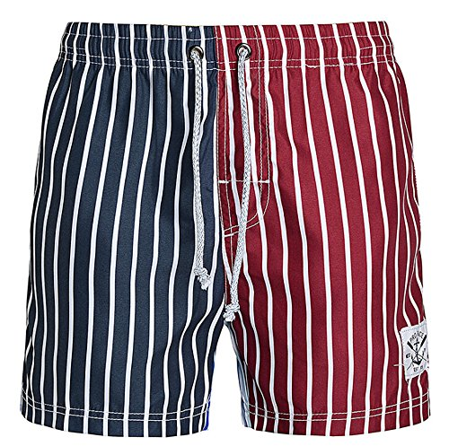 Bronze Times (TM) Mens Stylish Sketch American Star Beach Shorts Boardshorts(American stripe)