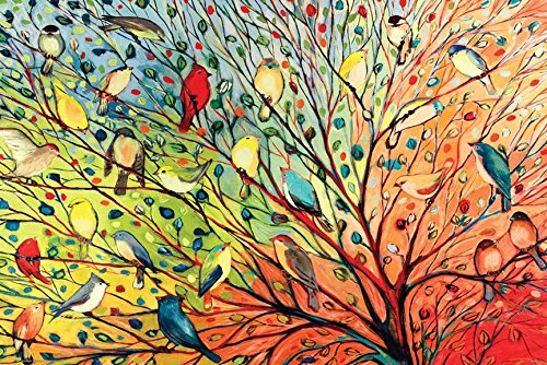 Buyartforless Tree Birds by Jennifer Lommers 36x24 Colorful
