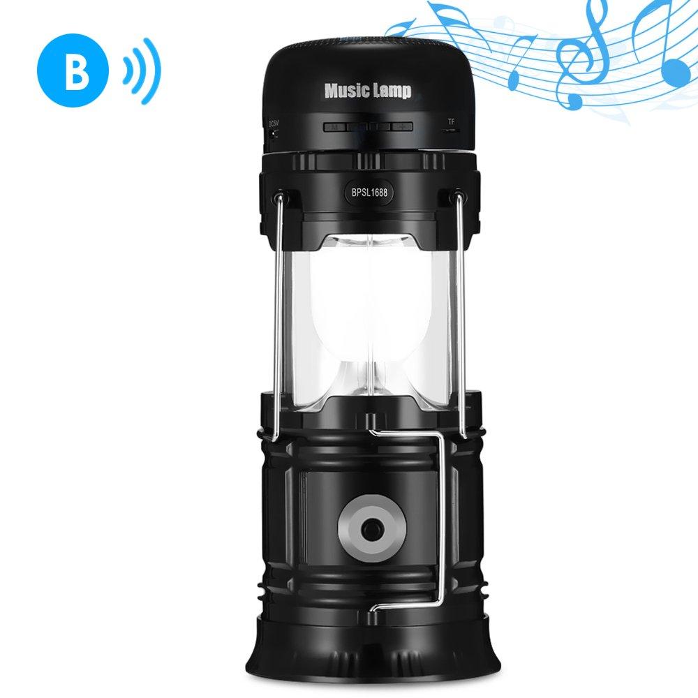 OutLife Farol de Camping Solar con Altavoz Bluetooth LED Linterna Portátil USB Recargable para Pesca Excursión Actividades Exterior