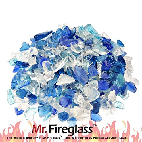 Mr. Fireglass Recycled Fire Glass for Natural or Propane Fire Pit Fireplace Gas Log Sets, 10 Pounds, - Glass Rocks Fireplace