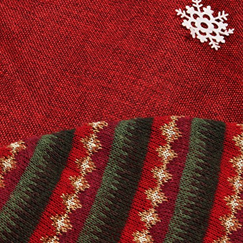 Sea Team 47'' Luxury Collection Cotton Blend & Non-woven Fabric Double-layer Applique Christmas Tree Skirt with Stereoscopic Pop Christmas Elements, Burgundy by Sea Team (Image #3)