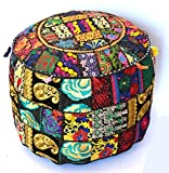 Indian Handmade Ottoman Cover Sari Patchwork Pouf Round Ottoman Pouf Decorative Foot Stool 22x14