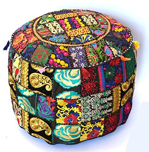 Indian Handmade Ottoman Cover Sari Patchwork Pouf Round Ottoman Pouf Decorative Foot Stool 22x14 by khushvin