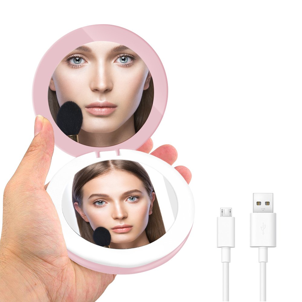 Portable Lighted Travel Makeup Mirror YALUYA Mini Compact Mobile Power Mirrors Handheld Folding Pocket Mirror with LED Lights 1x/3x Magnifying Mirrors for Beauty Cosmetic Camping (Pink Round)