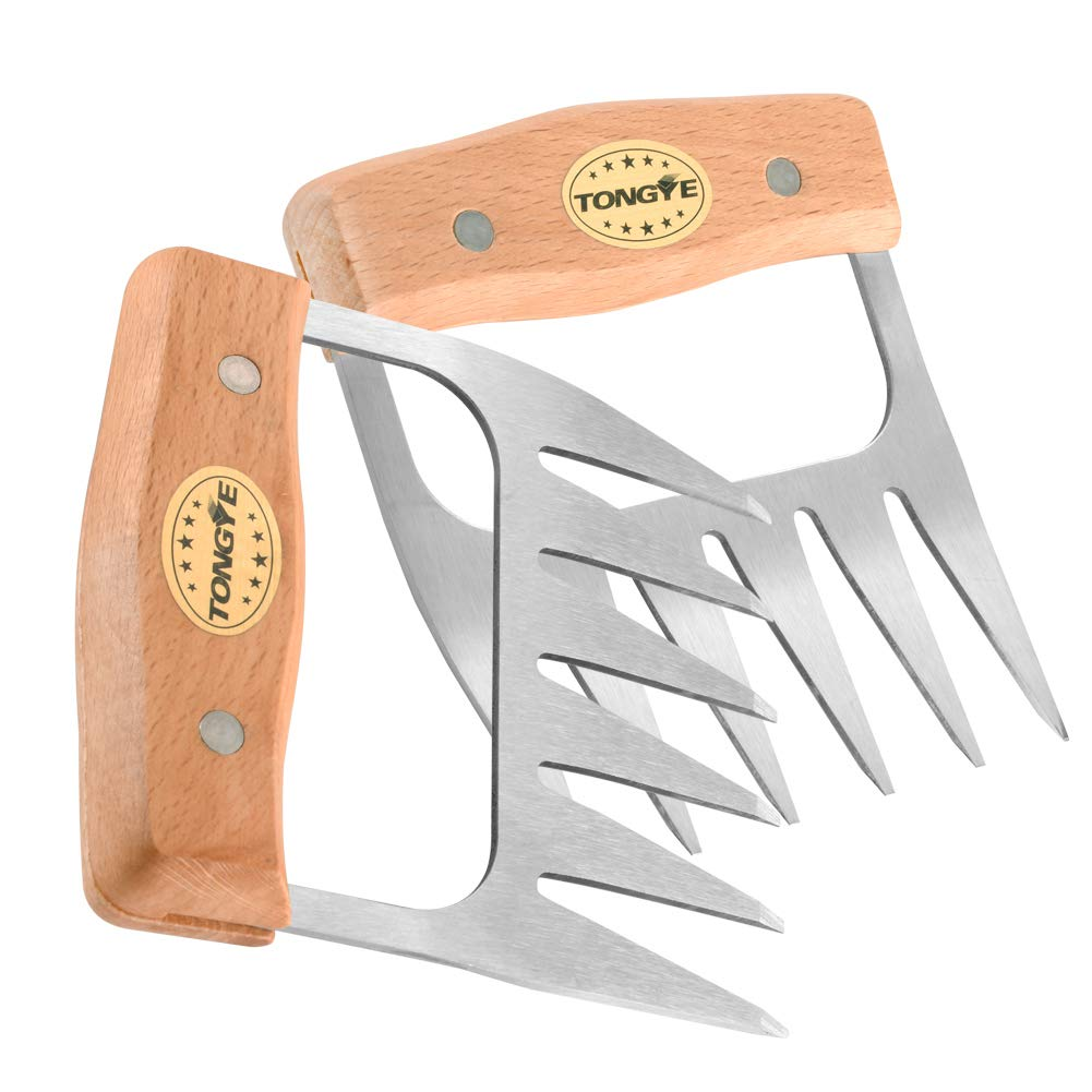 TONGYE Stainless Steel Meat Claws, Metal Pulled Pork Shredder for Shredding, Pulling, Handling, Lifting, Carving Heavy Duty Foods. BBQ Forks - Barbecue Handler Set of Grill Smoker. (Wooden Handle)