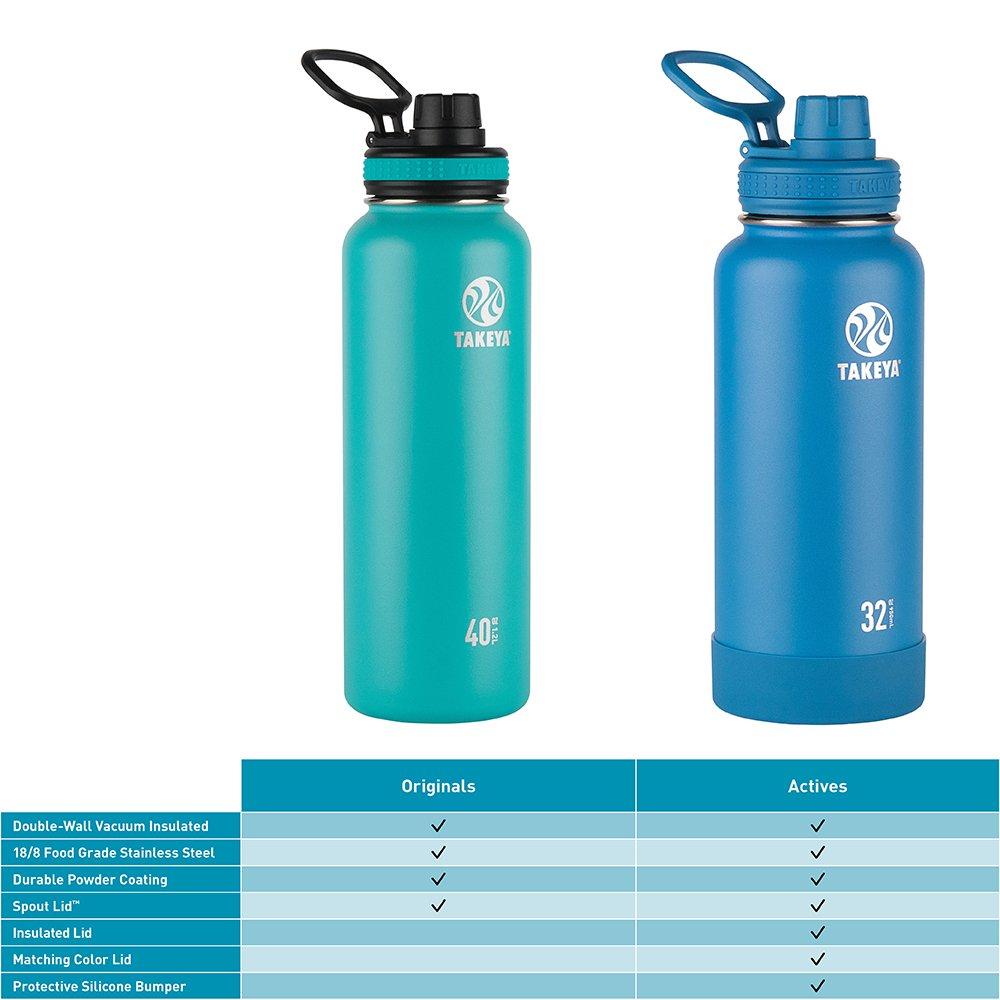 Takeya Originals Vacuum-Insulated Stainless-Steel Water Bottle, 14oz, Navy