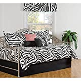 7 Piece Black White Medallion Daybed Set Bedding, Geometric Modern Contemporary Animal Print Zebra Pattern Day Bed Bedskirt Pillows, Polyester