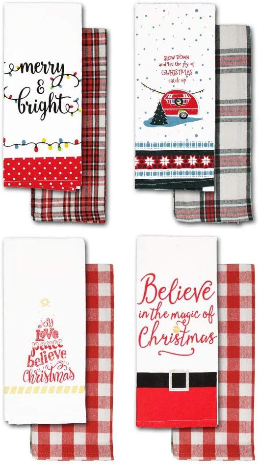 Christmas Kitchen Towels  Fun Holiday Dish Towels with Plaid Kitchen Towels 8 Flour Sack Towels