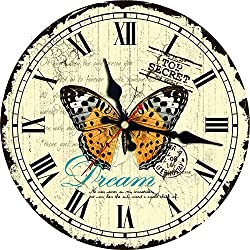Romantic Papillons Round Silent Clock for Home & Garden Living Room Office Kitchen Wall Decor Art Large Wall Clock New Beige Butterfly 14 inch (34 cm)