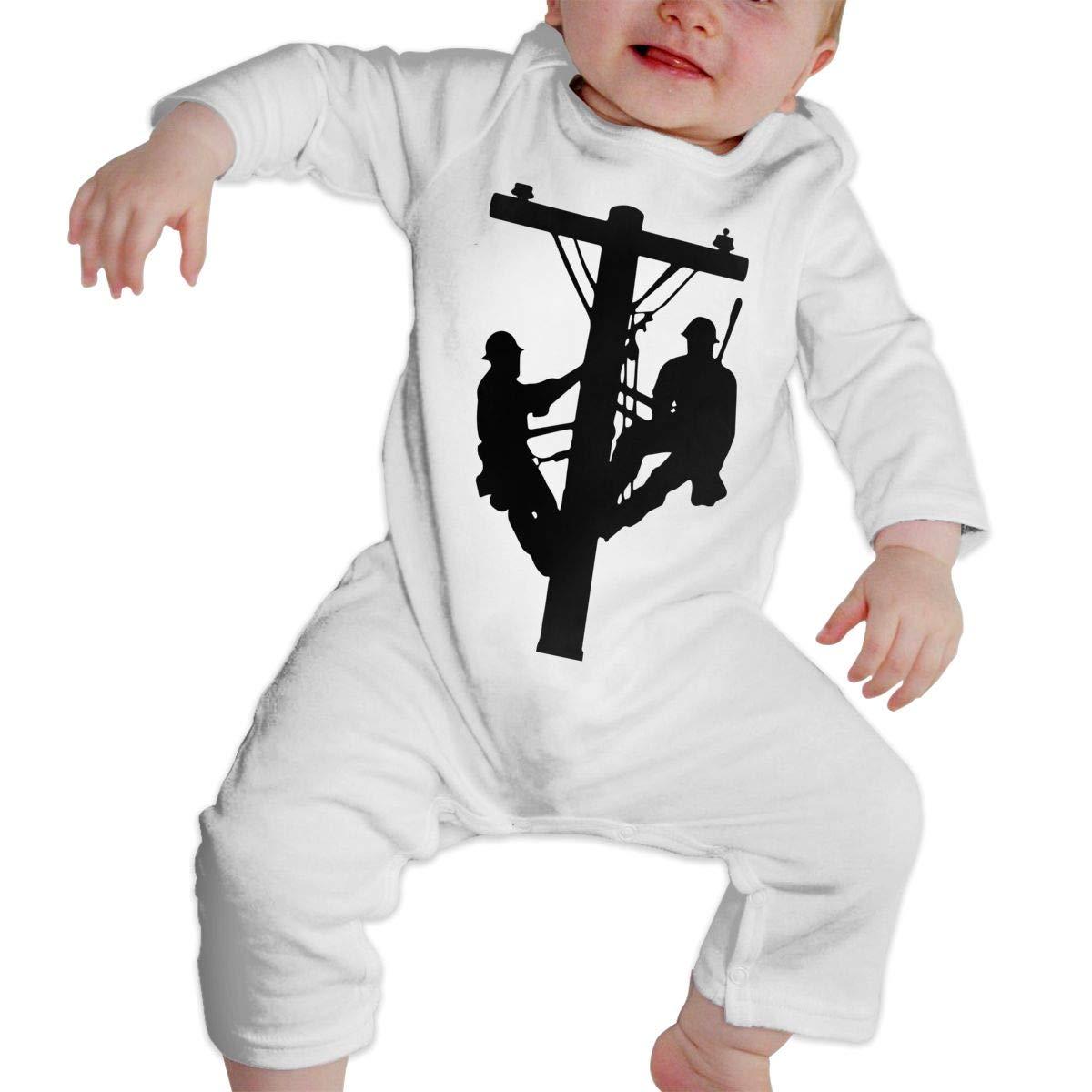 UGFGF-S3 Lineman Electrician Power Pole Newborn Baby Long Sleeve Bodysuit Bodysuits
