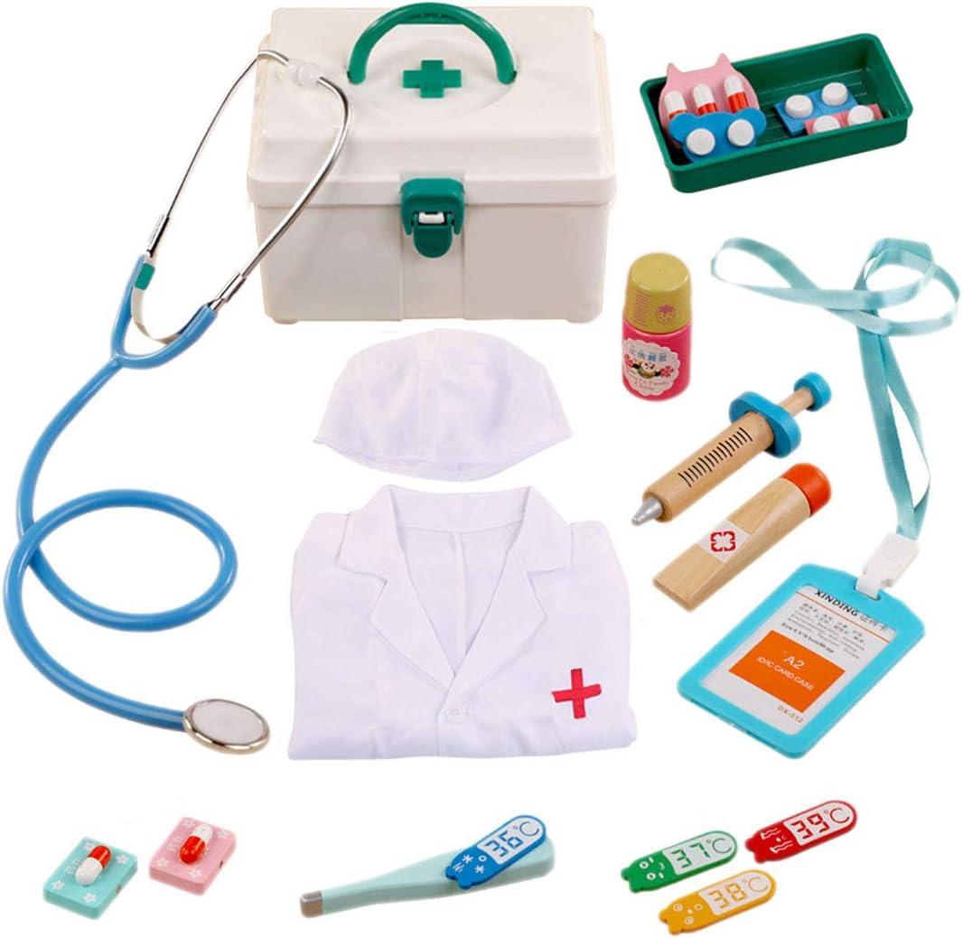 ColiCor 14piezas Kit Medico Juguetes Maletín Medico con Traje de Doctor para Niños
