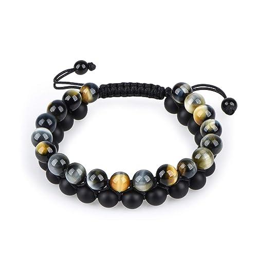 HASKARE Tiger Eye Stone Bracelet Men Women – Natural Energy Stone Essential Oil Lava Rock Black Onyx Tiger Eye Beads Bracelet Adjustable Couples