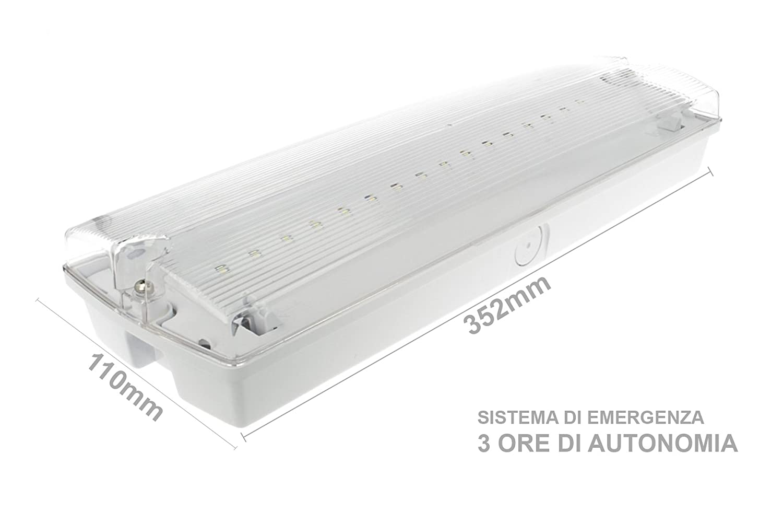 W Sistema Incluye 3 Techo Con De Emergencia Lámpara Led OTwiuPZkX