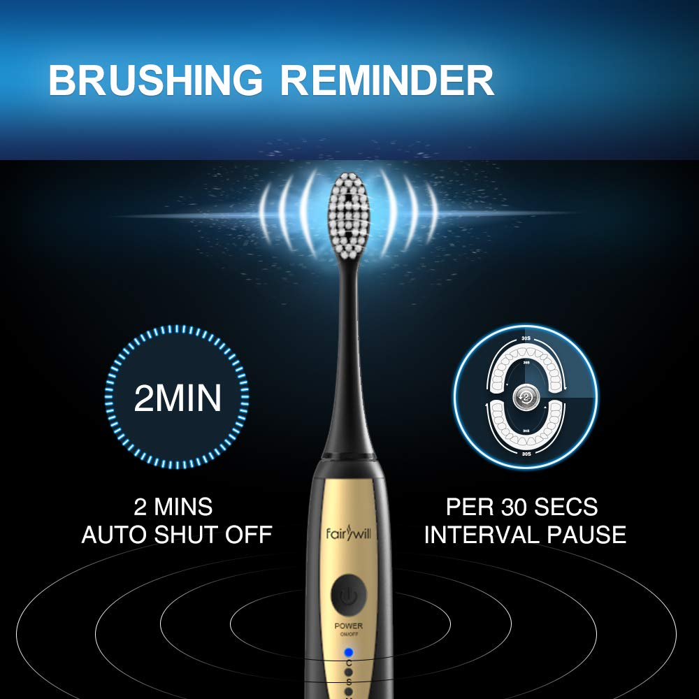 Fairywill Sonic Electric Toothbrush for Adults, with 2 DuPont Brush Heads Ultra-Powerful Cordless Rechargeable Dentist Recommended Whitening Toothbrush, Over 30 Days Long Battery Life by Fairywill (Image #6)