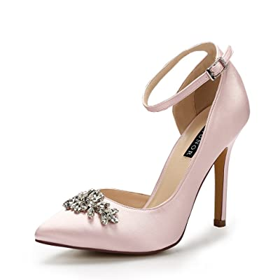 ERIJUNOR High Heel Pumps Pointed Toe Pumps Rhinestones Side-Open Party Dance Ankle Strap Evening Prom Wedding Shoes | Pumps