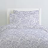 Carousel Designs Lavender Jacobean Duvet Cover Queen/Full Size - Organic 100% Cotton Duvet Cover - Made in The USA