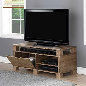 Jual Solid Wood Rustic Oak Tv Stand For Up To 55 Inch Amazon Co Uk