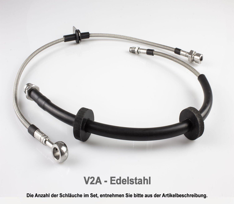 V2A Edelstahl Stahlflex Bremsleitungen 5er E34 540i V8-286 PS Bj.1992-1995
