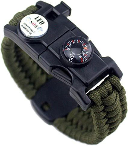 Compass Thermometer Rescue Whistl Ertisa 2 Pcs Paracord Survival Bracelet 21 in 1 Multifunction Waterproof Emergency Survival Gear Wristband with LED SOS Light Fire Starter for Hiking Camping