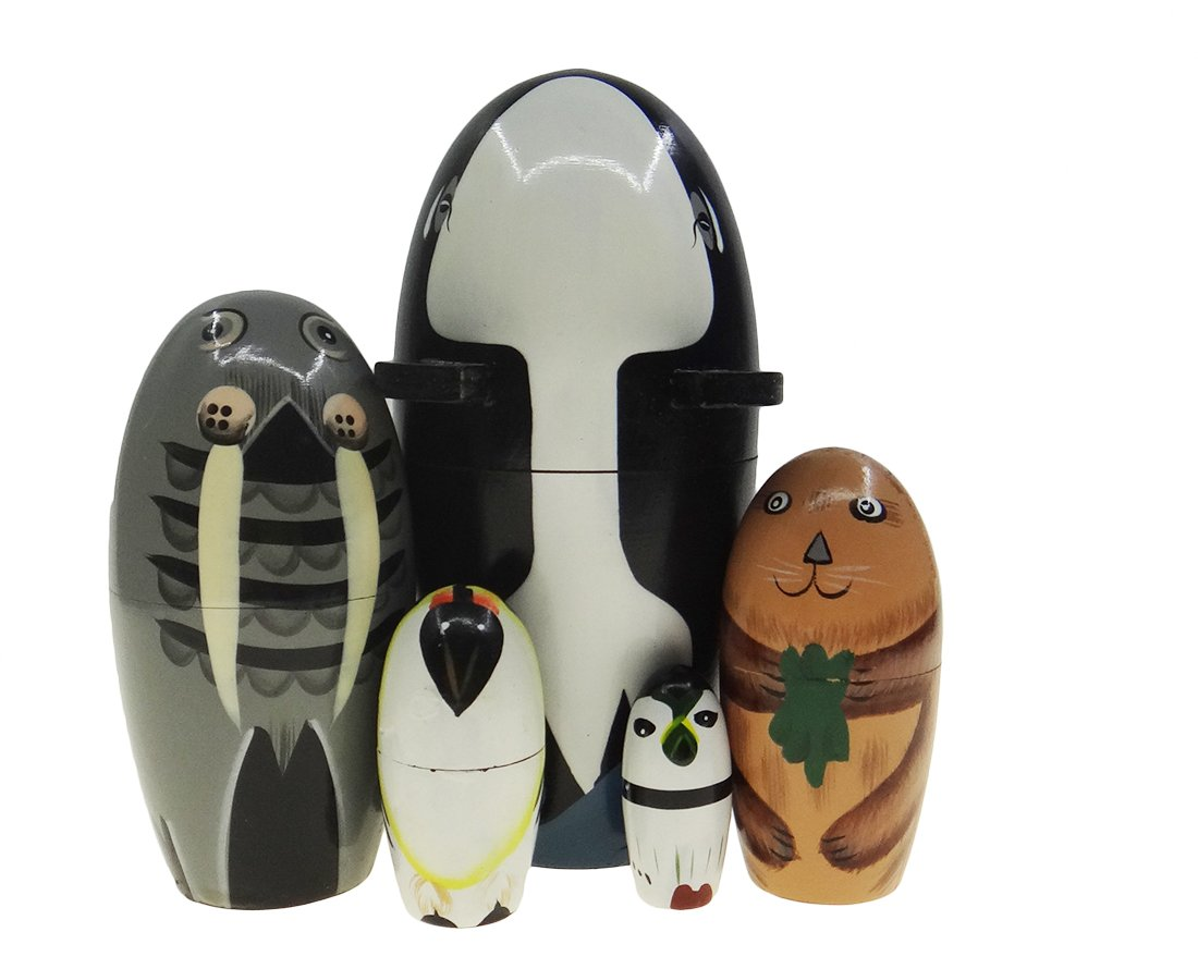 Arsdoll Sea Life Animal Whale Walrus Penguin Nesting Doll Wooden Matryoshka Russian Doll Handmade Stacking Toy Set 5 Pieces For Kids Girl Gifts Home Decoration