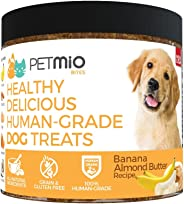 PetMio Bites - Human Grade Dog Treats, Banana Almond Butter Pumpkin Recipe, Certified Gluten Free, Certified Non-GMO, Grain F