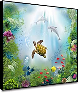ARRMT Framed Canvas Wall Art Prints Cartoon Underwater World Ocean Theme Green Seaweed Sea Turtle For Modern Home Decoration Living Room Bathroom Children Bedroom Wall Artwork Decor Poster 18x12inch