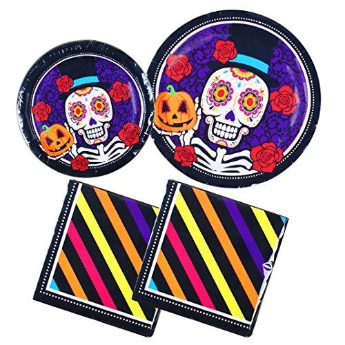 Halloween Sugar Skull Day of the Dead Dia de los Muertos 64 piece Paper Plates and Napkins - Serves 16