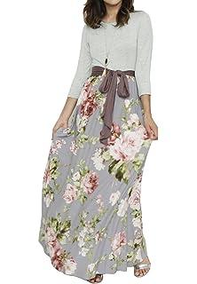 675ef8401ef Valphsio Womens Long Sleeve Floral Maxi Dresses Tie Waist Crewneck Boho  Long Dress