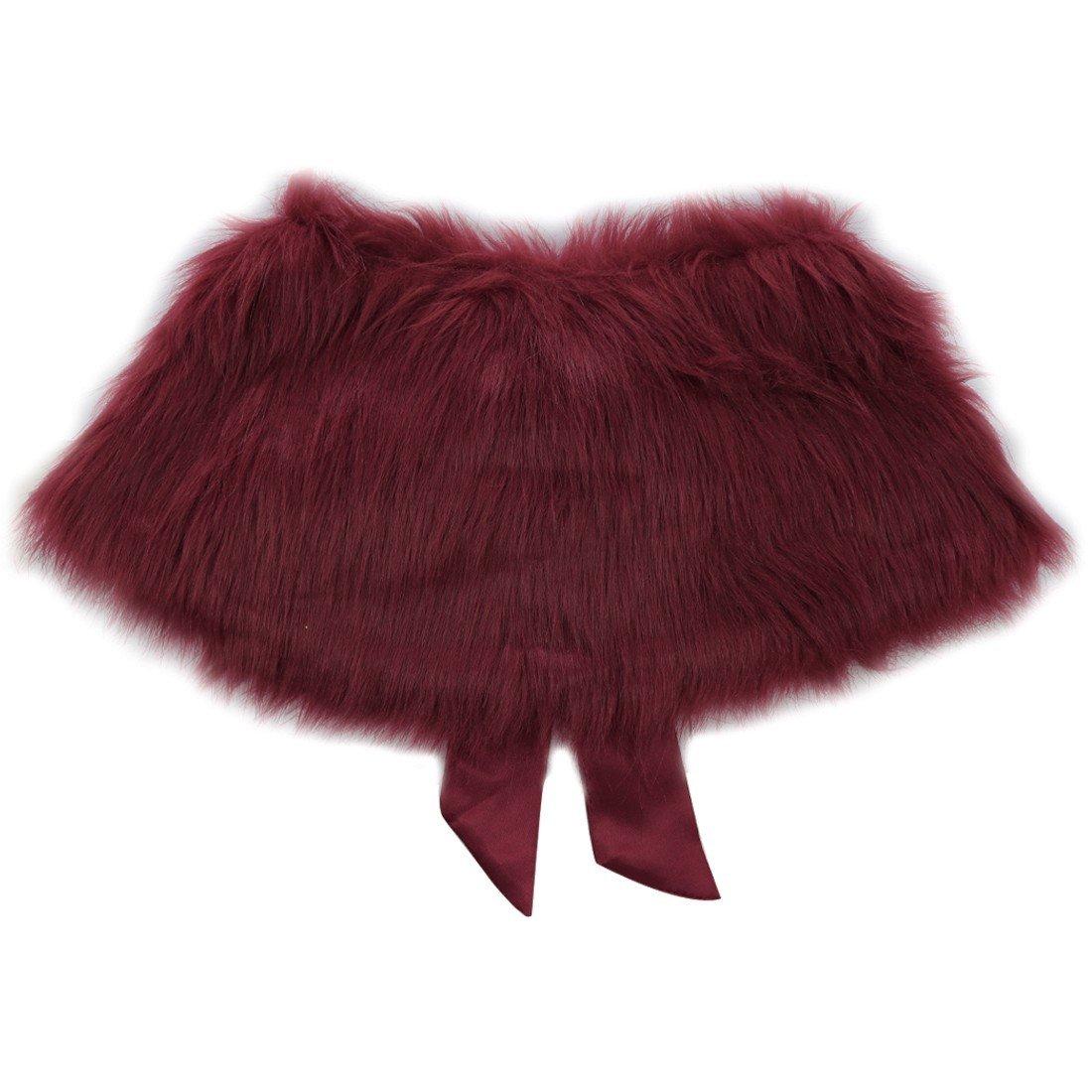 FEESHOW Flower Girls Faux Fur Wedding Shawl Wrap Stole Princess Shoulder Cape Bolero Shrug Burgundy one size