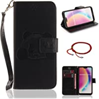 GOCDLJ Cell Phone Case for Huawei P20 Lite Design Panda PU Leather Flip Cover Wallet Stand Function with Lanyard Strap Holder Pocket Shell Black