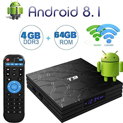 Android TV Box 8 1 with 4GB RAM 64GB ROM RK3328 Quad Core Cortex-A53 T9  Android Box Supporting 4K2K Full HD/3D/H 265/WiFi 2 4G&5G Smart TV Box
