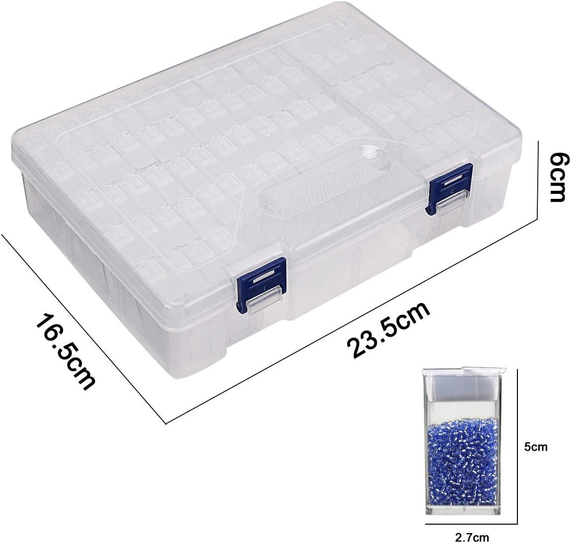 Diamond Painting Storage Containers,60 Slots Diamond Storage Box with Tools,Portable Bead Storage Container,Diamond Painting Accessories kit.