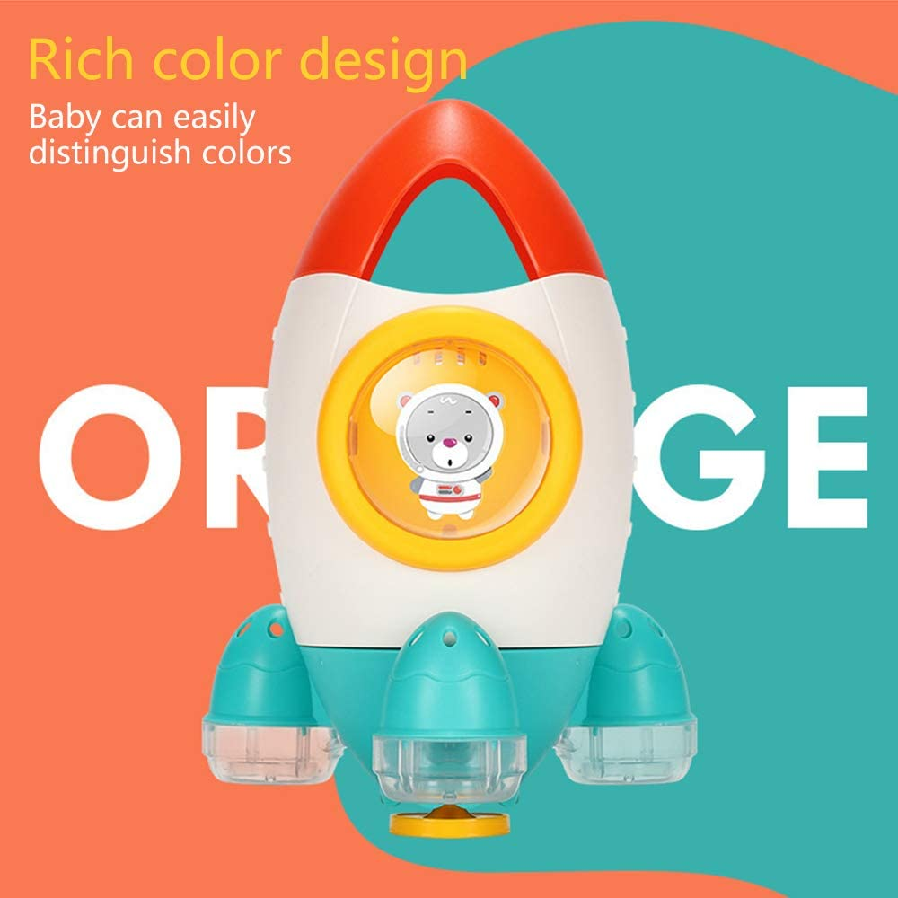 Ages 18 Month+ Creative Power Spin Squirt Water Rocket Toys for Kids Senhui Baby Bath Toy Toddlers. Children Bathroom Color Fountain Rocket Toys Orange