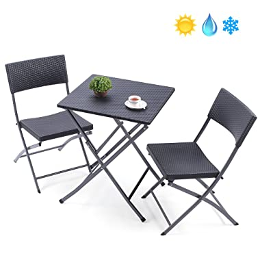 TAVR PE Rattan Patio Bistro Set,3 Piece Set of Outdoor Foldable Garden Table and Chairs, All Weather Resistant Resin Wicker,Black,CH1004