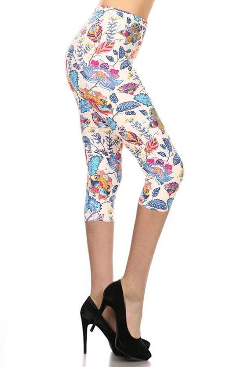 Leggings Depot Capri REG/Plus Women's Buttery Popular Prints BAT4 (Plus Size (Size 12-24), Nirvana)