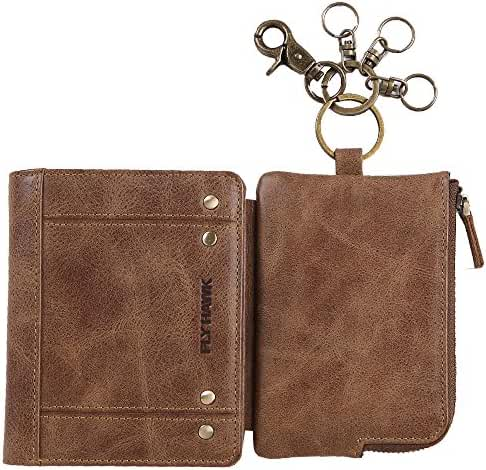 RFID Blocking Wallet with Zip Credit Card Holder ID Window Keychain Ring Genuine Leather Wallet for Men Woment