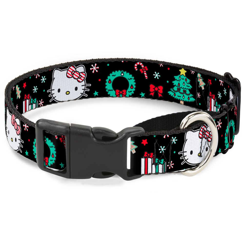 1\ Buckle-Down Hello Kitty Face Christmas Elements Black Green Red White Martingale Dog Collar, 1  x 15-26  Large