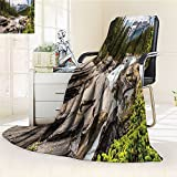 Americana Landscape Custom Blanket by Nalohomeqq River Float in Forest Northern Recreation Camping Rafting Woods Print Fabric Custom Hypoallergenic Printed Fleece Blanket Multi