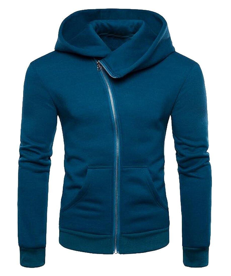 FSSE Mens Full-Zip Casual Loose Solid Color Long Sleeve Hooded Sweatshirt Coat