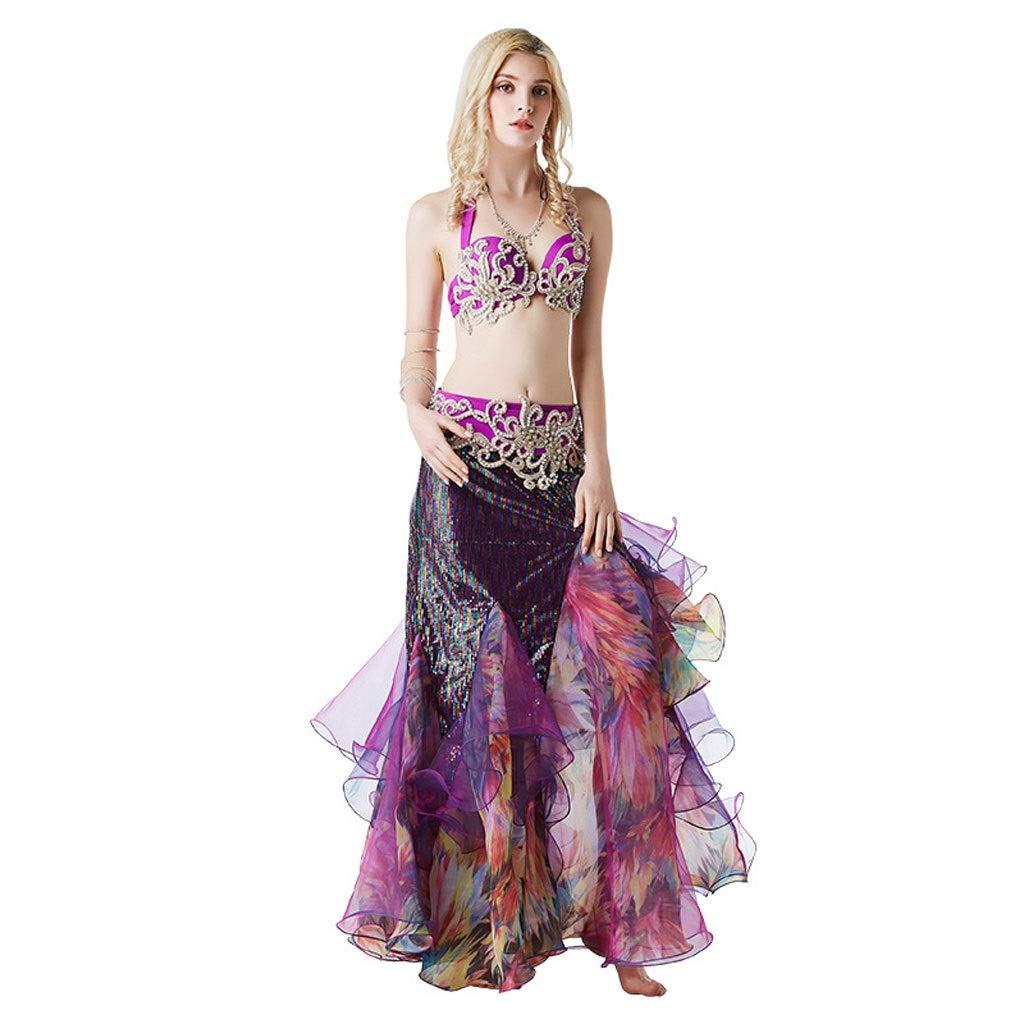 ベリーダンスパフォーマンス服カラーダイヤモンドビーズブラバッグヒップステッチロングスカートショーセット (Color : 紫の, Size : S) 紫の Small