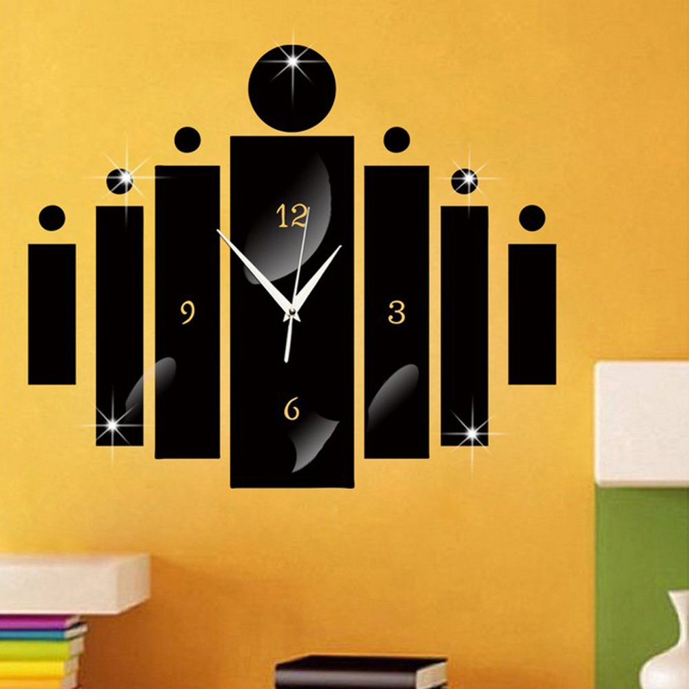 creative designs mirror wall clock large. Amazon com  Happy Hours Creative Wall Clocks Home DIY Decoration Watch Acrylic Craft Living Room Mirror 3D Design Black Kitchen