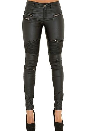 2056325dd0 Cresay Women's Slim Fit Faux Leather Biker Pants Black Trousers