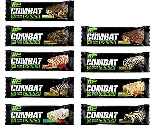 MusclePharm Combat Crunch Protein Bar, Multi-Layered Baked Bar, 20gram Protein, Low Sugar, Low Carb,  Variety Pack 9 Bars (1 of each Flavor)