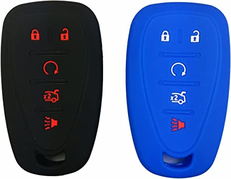 Coolbestda 2Pcs Rubber Key Fob Cover Case Remote Skin Keyless Jacket Protector for Chevrolet 2016 2017 Malibu 2016 Camaro Cruze 5 Buttons Smart Keyless