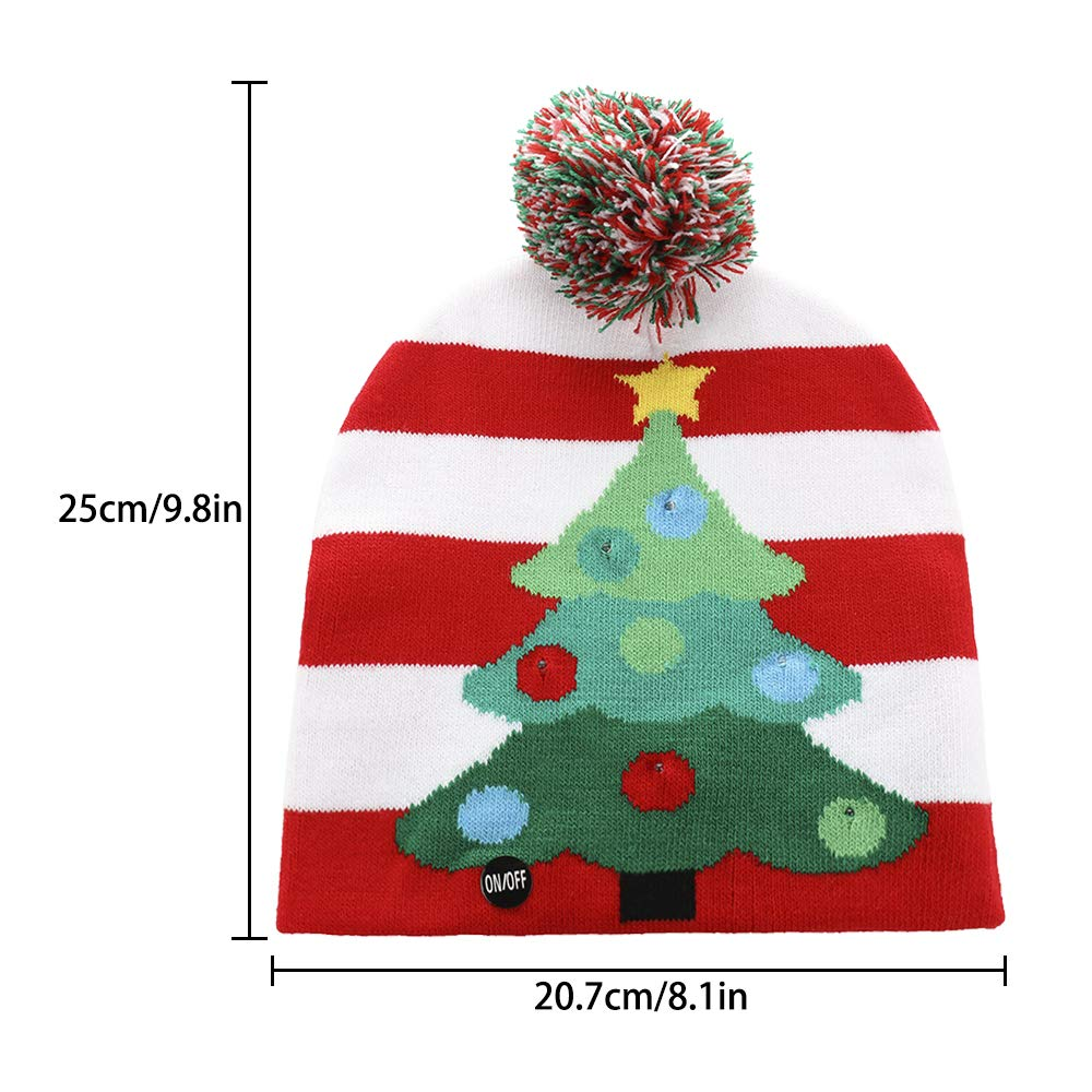 cbf78a2579b98 Asodomo LED Light up Hat Knitted Ugly Sweater Holiday Xmas Christmas  Beanies Colorful Lights Flashing Hat Knit Cap (Christmas Tree) at Amazon  Men s Clothing ...