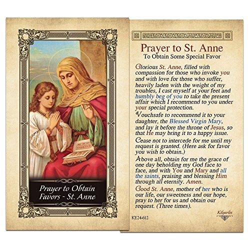 Obtain Favors - St. Anne Laminated Prayer Card - Pack of (Favor Prayer Card)