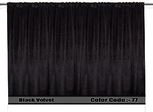 SAARIA Black Velvet Curtain Panel Stage Studio Decorative Home Theater Backdrop Window Door Movie Hall Drapes 20 ft W x 9 ft H
