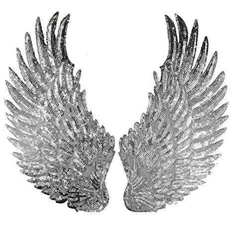 1 par de parches de lentejuelas con alas de ángel para coser o coser en apliques