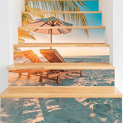 Decorative Tile Borders - VANCORE 3D Stair Stickers Decals Wall Floor Mural Peel and Stick Border Vinyl Tile Decorative 7.1x39.4 6 Pcs/Set